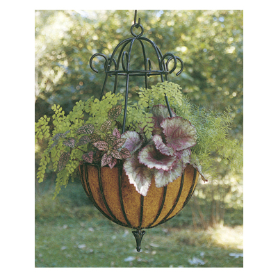 Decorative 14 diameter peacock hanging planter liner set for Decorative hanging pots