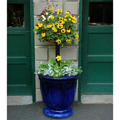 "Pamela Crawford Basket Column Kit for Large Pots and 16"" Single Tier Basket/Liner Set"