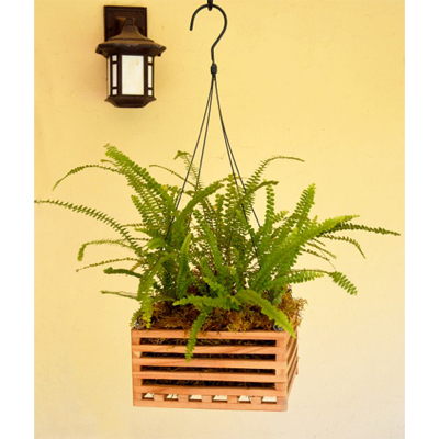 "8"" Square Wooden Basket Planter"